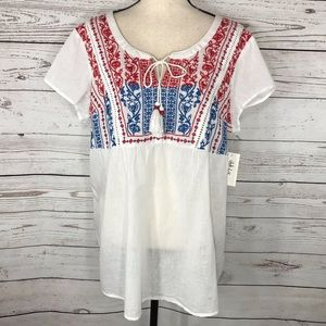 Style & Co Top Cap Sleeve Embroidered Semi-Sheer